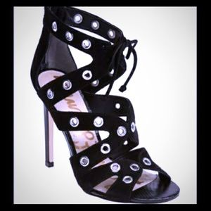 Sam Edelman leather suede grommet heels 6